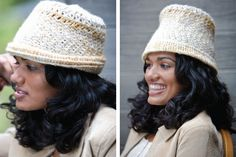 Slanting stitches make this hat pop, you can download the pattern for free to make your own. #crochethats