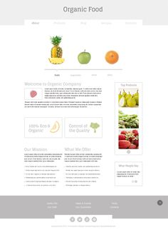 New in Freebies Collection – Minimal Template for Organic Food Website Jquery Slider, Organic Company, Free Website Templates, Meal Delivery Service, Recipe Sites, Food Website, Web Design Inspiration, Wow Products, Organic Recipes