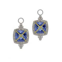 Pave Lacey Earring Charms, Sterling Silver and 18K Yellow Gold with Blue Topaz and Pave White Sapphires #judefrances