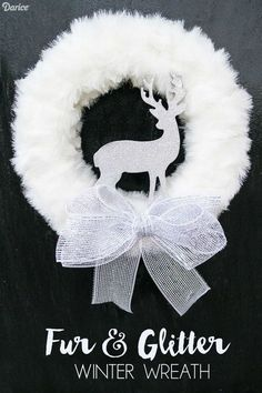 DIY Winter Wreath with Fur and Glitter Reindeer – Darice Fur and Glitter DIY Winter Wreath Christmas Balls Diy, Christmas Mesh Wreaths, Christmas Decorations, Christmas Ornaments, Ribbon Wreaths, Yarn Wreaths, Floral Wreaths, Winter Wreaths, Burlap Wreaths