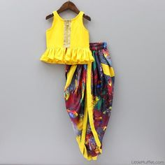 Pre Order: Yellow And Multicolour Dhoti Set Source by Blouses Baby Boy Dress, Baby Girl Party Dresses, Little Girl Dresses, Girls Dresses, Baby Girl Dress Patterns, Baby Dress Design, Kids Frocks, Frocks For Girls, Kids Dress Wear
