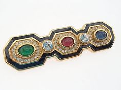 Authentic CHRISTIAN DIOR Vintage Rhinestone Gold Pin Brooch 03 8.25 - http://designerjewelrygalleria.com/christian-dior/authentic-christian-dior-vintage-rhinestone-gold-pin-brooch-03-8-25/