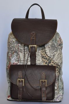 Genuine leather and world map atlas print bag by doubleedge genuine leather and africa print backpack gumiabroncs Gallery