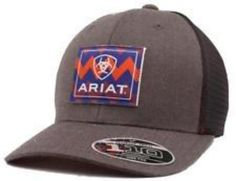 4efd035f0e76c Ariat Mens Hat Baseball Cap Flexfit Mesh Back Snap Logo Patch Grey  A300001706