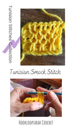 Learn the impressive Tunisian Smock stitch with my easy and short video tutorial! Unique Crochet, Cute Crochet, Knit Crochet, Lace Knitting, Easy Crochet Blanket, Crochet Quilt, Tunisian Crochet Patterns, Stitch Patterns, Lace Patterns