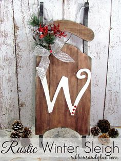 Rustic Winter Wood Sleigh dyed with #ritdye and painted with #decoart paint