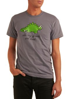 Cry-ceratops Men's Tee in Grey. You'd cry, too, if extinction happened to you and all your paleo pals! #grey #modcloth