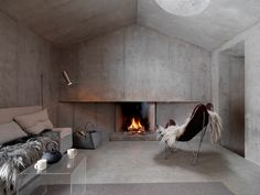 The perfect spot for a relaxing start to the new year, a minimalist concrete cabin in the Swiss alps, where the simple lines and raw materials gives the space an almost monastic feeling. Interior Exterior, Interior Architecture, Swiss Cottage, Cottage Renovation, Swiss Alps, Interiores Design, Interior Inspiration, Interior Decorating, House Design
