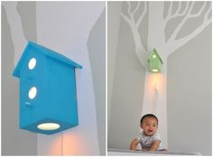 birdhouse lamp - could possibly DIY. Have you seen all the $3.99 wooden birdhouses at Joanns' Crafts? just add a light.