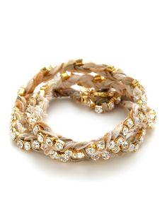 Ettika Jewelry Braided Ribbon & Crystal Wrap Bracelet