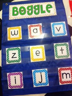 Create boggle with pocket chart- build words Math Boggle, Boggle Board, Boggle Game, Bulletin Board, Maths, Teaching 5th Grade, Kindergarten Literacy, Teaching Tools, Literacy Centers