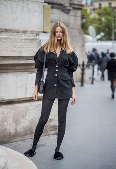 Polish model Magdalena Frackowiak wearing a black jacket is seen outside Balmain during Paris Fashion Week Spring/Summer 2018 on September 28 2017 in...