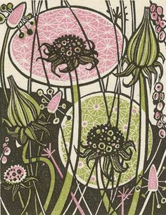 Angie Lewin is a printmaker who produces gorgeous multi coloured prints using wood engraving, linocut, silkscreen, lithograph and collage  printmaking techniques.