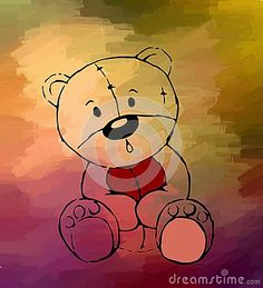 Teddy bear drawing on colored background. Digital drawing