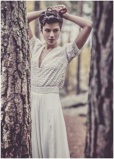 vintage style wedding dress by Laure de Sagazan