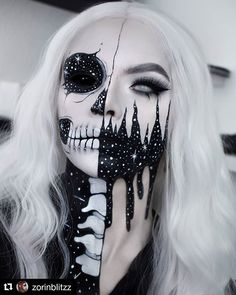 R E A P E R Halloween Makeup Body Painting Art Idea From Will you try it? Tag your friend who'll love this! Halloween Tees On Sa. Zombie Makeup, Scary Makeup, Horror Makeup, Fx Makeup, Glam Makeup, Cosplay Makeup, Costume Makeup, Amazing Halloween Makeup, Halloween Face Makeup