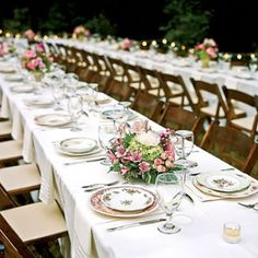 Mismatched china.  Easy to do with a small wedding. Just hit up thrift stores, estate sales etc.  Buy pieces with pinks, golds, etc.