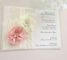 Shabby Vintage Lace Garden Glamour Couture Invitation  Ivory
