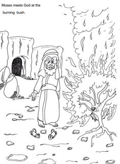 Moses and the burning bush ~ Sunday school coloring pages