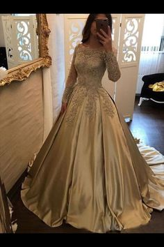 Satin Prom Dress,Ball Gown Prom Dress,Long Sleeve Bridal Gowns,Lace Prom Gown on Luulla Prom Gown With Sleeves, Lace Prom Gown, Lace Ball Gowns, A Line Prom Dresses, Ball Gowns Prom, Cheap Prom Dresses, Formal Evening Dresses, Ball Dresses, Quinceanera Dresses