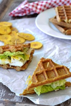 Paleo Waffle Sandwiches Recipe = Waffles made of plantains serve as a super tasty alternative to grain bread for sandwiches.