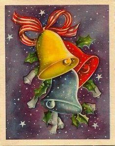 Modern Christmas Cards, Vintage Christmas Images, Retro Christmas, Christmas Bells, Vintage Holiday, Christmas Wrapping, Christmas Greeting Cards, Christmas Greetings, Kids Christmas