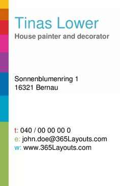 Creative business card for paint services.