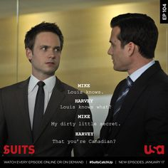 USA Network Original Series - Suits stars Patrick J. Adams as Michael Mike Ross and Gabriel Macht as Harvey Specter working at a law firm in NYC. Serie Suits, Suits Tv Series, Suits Usa, Suits Show, Suits Tv Shows, Canadian Suit, Donna Harvey, Specter Suits, Harvey Specter Quotes