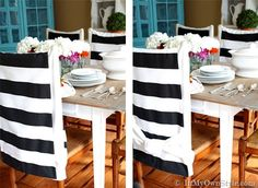 Transform The Look Of A Dining Room Chairs Easily With Fabric These No Sew Chair Back Covers They Are Quick Easy And Affordable To Make