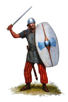 An upper class Celtic soldier, most likely a Solduros or a Neitos. He can afford a longsword, chainmail with shoulder guards, an oval shield with large iron boss and a good coolus.