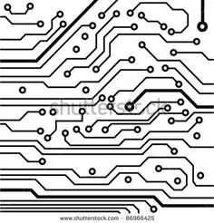 circuit board pattern black-and-white. vector illustration by takito, via Shutterstock