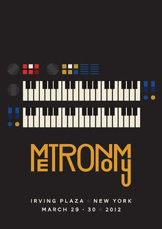 Metronomy Gig Poster Design Limited edition gig posters designed by James Kirkup for two headline shows by Metronomy at the Irving Plaza in New York and Zenith in Paris. Graphic Design Posters, Graphic Design Typography, Graphic Design Illustration, Graphic Design Inspiration, Typo Design, Graphic Art, Web Design, Flyer Design, Branding Design