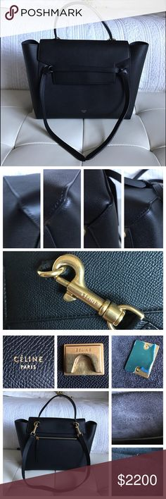 """Celine Black Mini Belt Bag Authentic and absolutely gorgeous Celine Belt bag. Purchased from Neiman Feb 2016. Hardly carried and in excellent condition inside and out. Will come with dust bag and paperwork, copy of receipt available on request. Handle drop 4"""", shoulder strap drop 15"""". Navy suede interior lining. Celine Bags"""