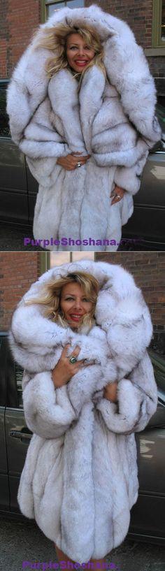 Unique Plush Solid Silver Canadian Blue Fox Fur Coat - Detachable Cape M/L