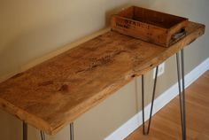 Industrial Modern Rustic Console table with solid reclaimed wood top and steel hairpin legs