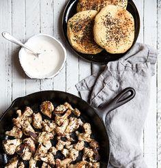 cauliflower shawarma + homemade (gf+df) chickpea pita bread