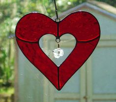 Beautiful Textured Red Stained Glass Heart Sun Catcher with Cut Glass Charm in center