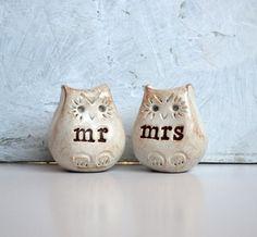 Wedding cake topper...Love bird owls... mr mrs by SkyeArt on Etsy, $42.00
