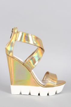 2c199aad04bf Bamboo Hologram Lug Sole Platform Wedge. Description This wedge features an open  toe