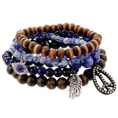 Set Of Blue Colored Beaded Stretch Charm Bracelets With Peace Symbol, Blue Evil Eye, And Feather Cha West Coast Jewelry. Save 46 Off!. $23.95