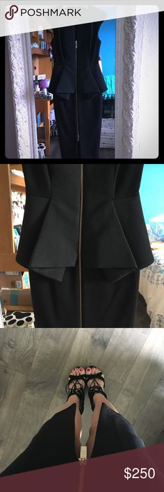 NWOT Gorgeous TED BAKER Black Dress New without tags. Size 0. A little too small for me. This dress is beautiful and chic! Purchased from Nordstrom. Ted Baker sized 0 - chart says like a US size 2. I think it would best fit a 0 or small 2. Added a photo of same dress on Carmen Electra & Emmy Rossum. Ted Baker Dresses Midi
