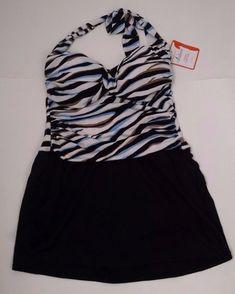 878dbfa9ee407 Catalina Suddenly Slim Halter Top Swimdress M 8-10 Black Zebra Stripe  Ruched New
