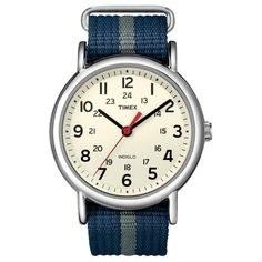 TIMEX WEEKENDER - I love this watch, wear it almost every day. The big face is really easy to read, and its band matches everything.