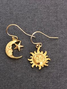 Mismatched Earrings dainty Sun and Moon Earrings Drop dangling Earrings Sun face. - Mismatched Earrings dainty Sun and Moon Earrings Drop dangling Earrings Sun face earrings moon face - Moon Jewelry, Star Jewelry, Dainty Jewelry, Cute Jewelry, Jewelry Accessories, Jewelry Box, Jewelry Armoire, Jewellery, Jewelry Findings