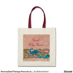 Personalized Vintage Peacock on Pink Baby Shower Tote Bag