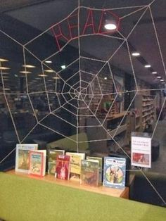 Future Librarian Superhero: Charlotte's Web Display ---- gotta figure out how to make that web! School Library Displays, Middle School Libraries, Elementary School Library, Classroom Displays, Elementary Education, Library Design, Library Ideas, Library Themes, Children's Library