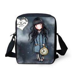 Cute Illustration Cartoon Girl Shoulder Messenger Bags European& American Style Denim Kids Bags Santoro Character Cute Bags