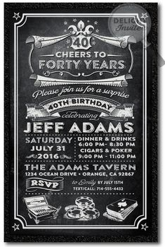 Over the Hill 40th Birthday Party Invitations for Men [DI-475] : Custom Invitations and Announcements for all Occasions, by Delight Invite