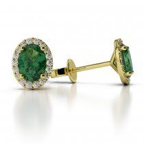 Yellow Gold Oval Emerald & Diamond Earrings AGER-1070-I