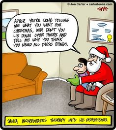 If Santa Claus was a therapist who incorporates therapy into his repertoire, it would look something like this! Christmas Comics, Christmas Humor, Santa Christmas, Mental Health Humor, Psychology Jokes, Funny Quotes, Funny Memes, Memes Humor, Humor Humour